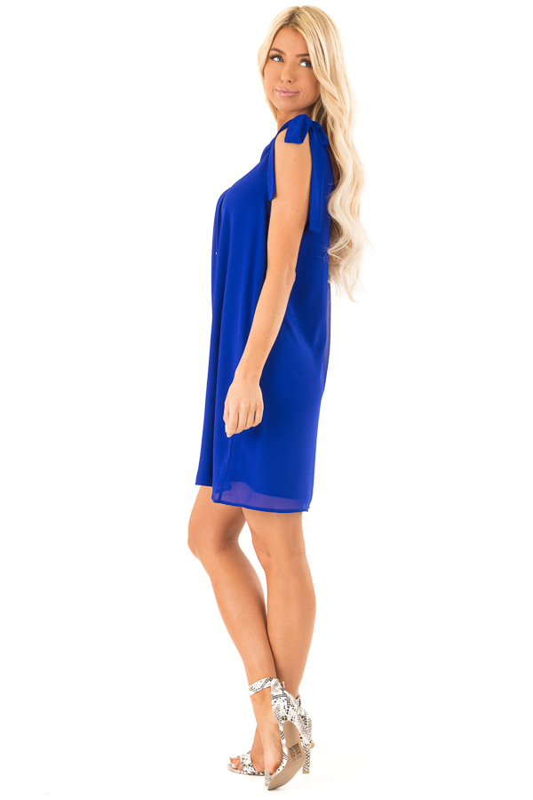 Royal Blue Scoop Neck Mini Shift Dress with Shoulder Bows side full body