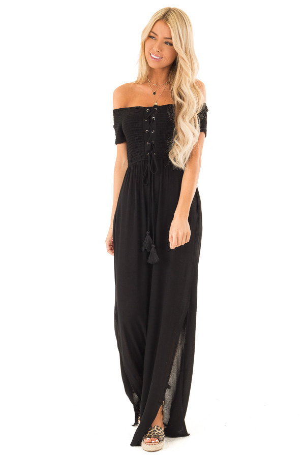 Black Off the Shoulder Jumpsuit with Smocked Lace Up Bodice front full body