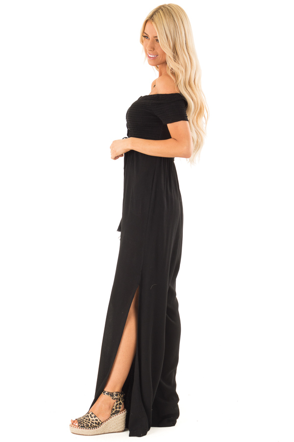 Black Off the Shoulder Jumpsuit with Smocked Lace Up Bodice side full body