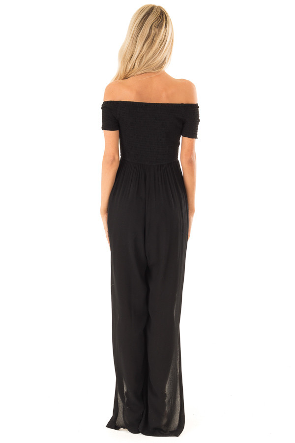 Black Off the Shoulder Jumpsuit with Smocked Lace Up Bodice back full body
