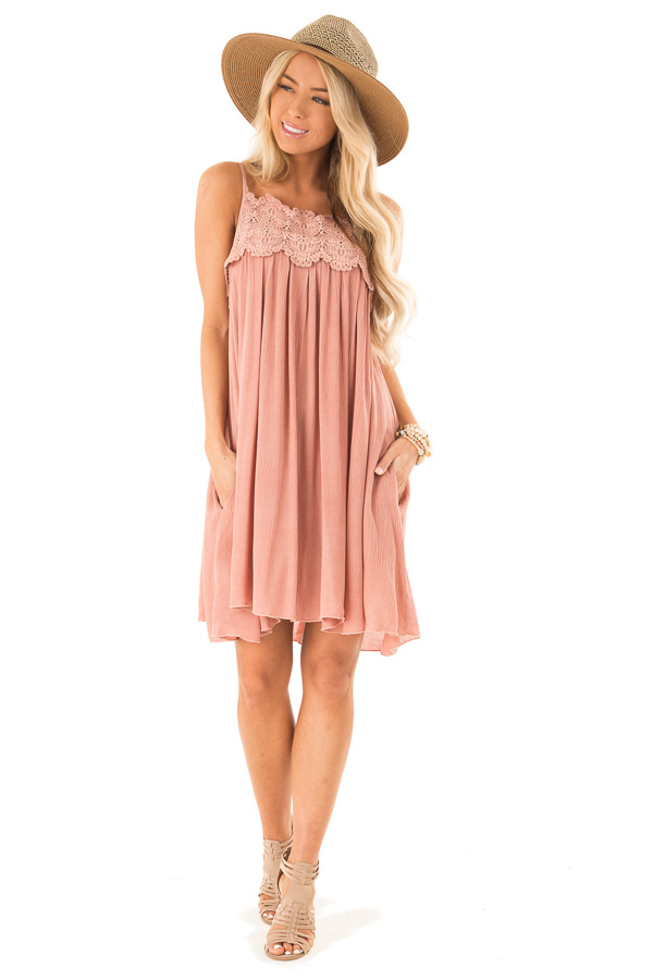 Rose Pink Pleated Mini Dress with Crochet Lace Detail front full body