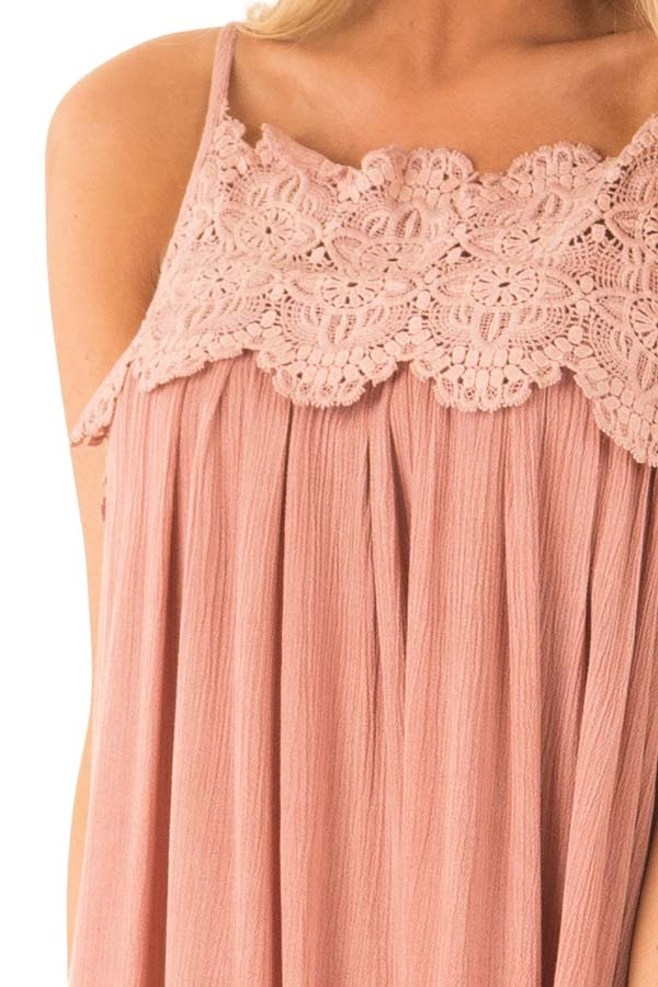 Rose Pink Pleated Mini Dress with Crochet Lace Detail detail