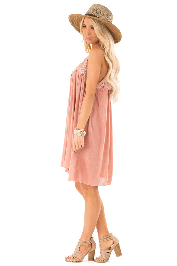 Rose Pink Pleated Mini Dress with Crochet Lace Detail side full body