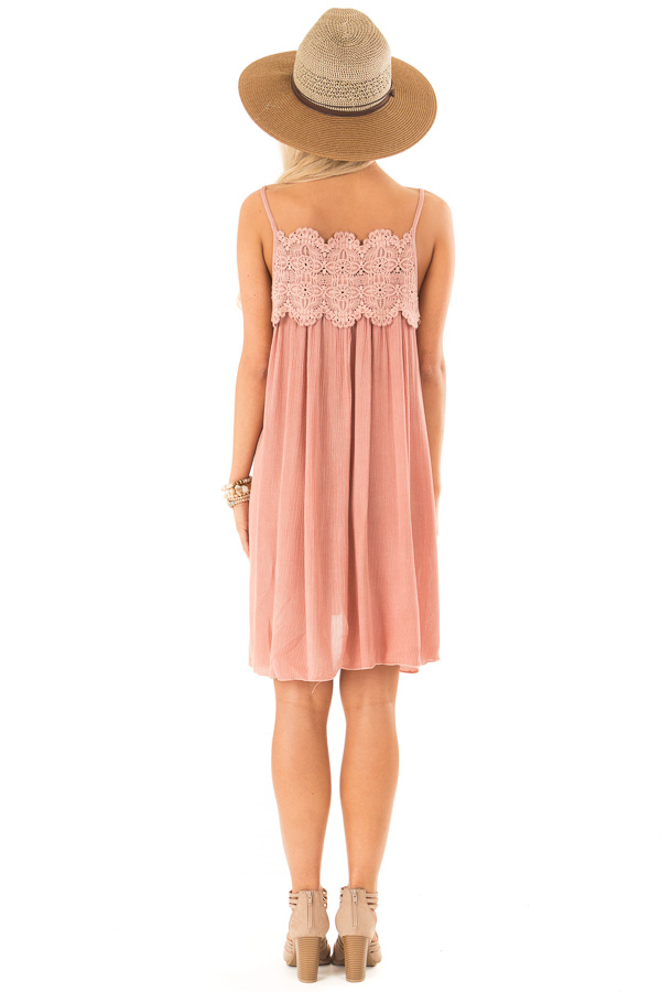 Rose Pink Pleated Mini Dress with Crochet Lace Detail back full body