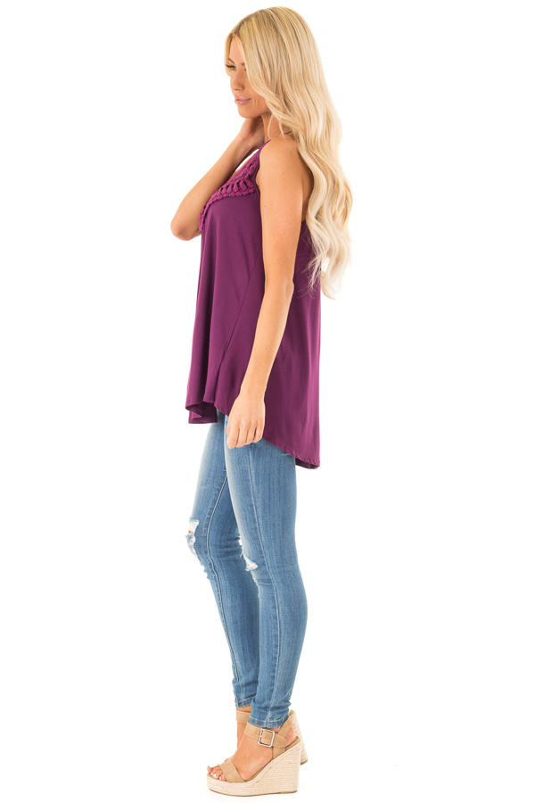 Boysenberry Tank Top with Sheer Lace Chest side full body