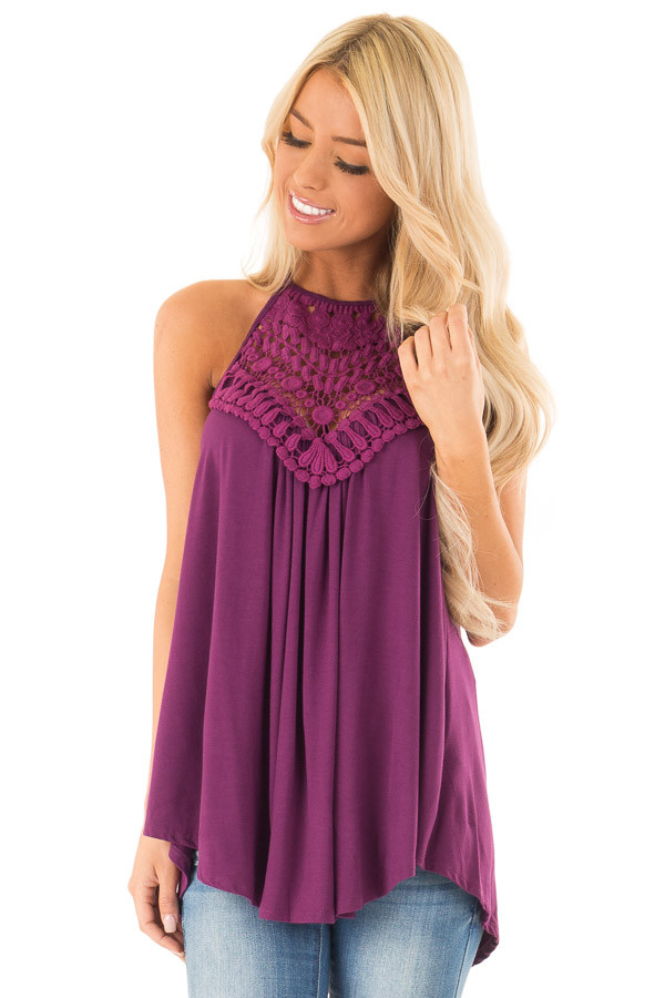 Boysenberry Tank Top with Sheer Lace Chest front close up