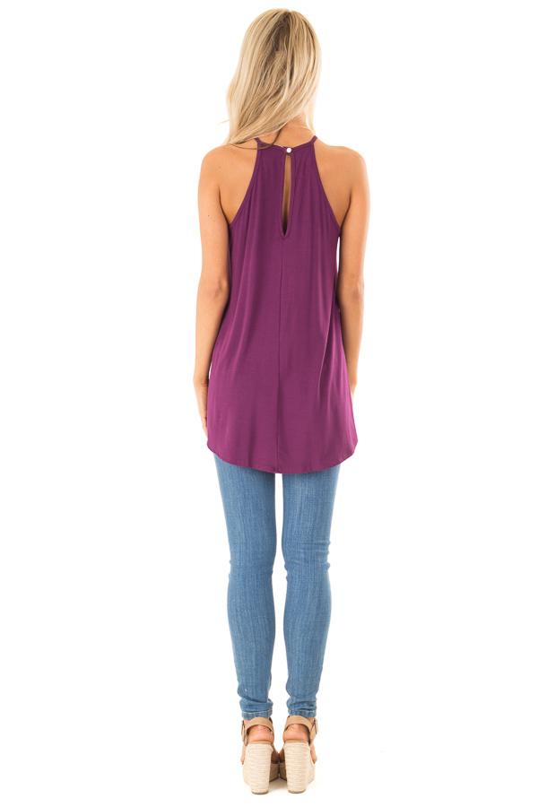 Boysenberry Tank Top with Sheer Lace Chest back full body