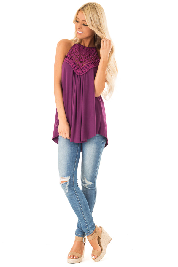 Boysenberry Tank Top with Sheer Lace Chest front full body