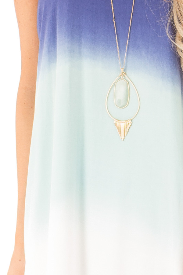 Mint and Sapphire Blue Ombre Sleeveless Midi Dress detail