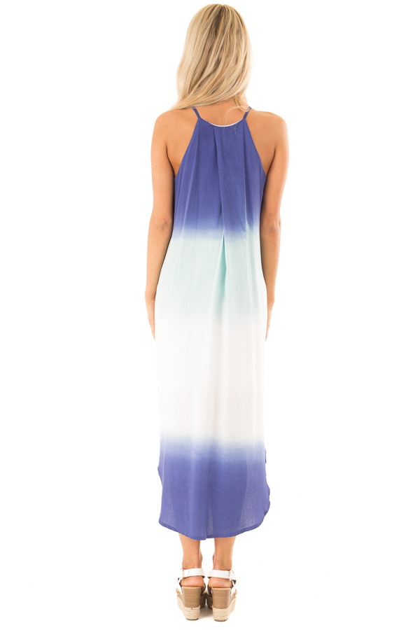 Mint and Sapphire Blue Ombre Sleeveless Midi Dress back full body