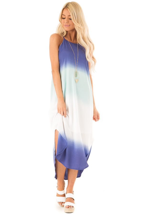 Mint and Sapphire Blue Ombre Sleeveless Midi Dress front full body