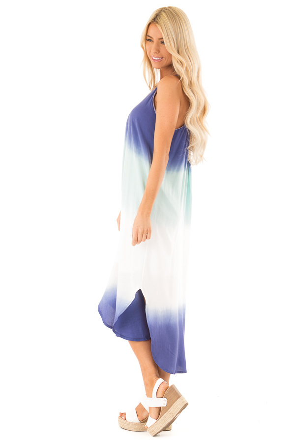 Mint and Sapphire Blue Ombre Sleeveless Midi Dress side full body