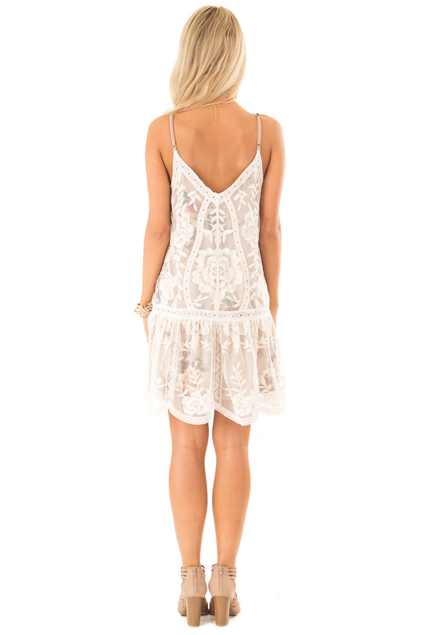Ivory Floral Print V Neck Mini Dress with Sheer Lace Overlay back full body