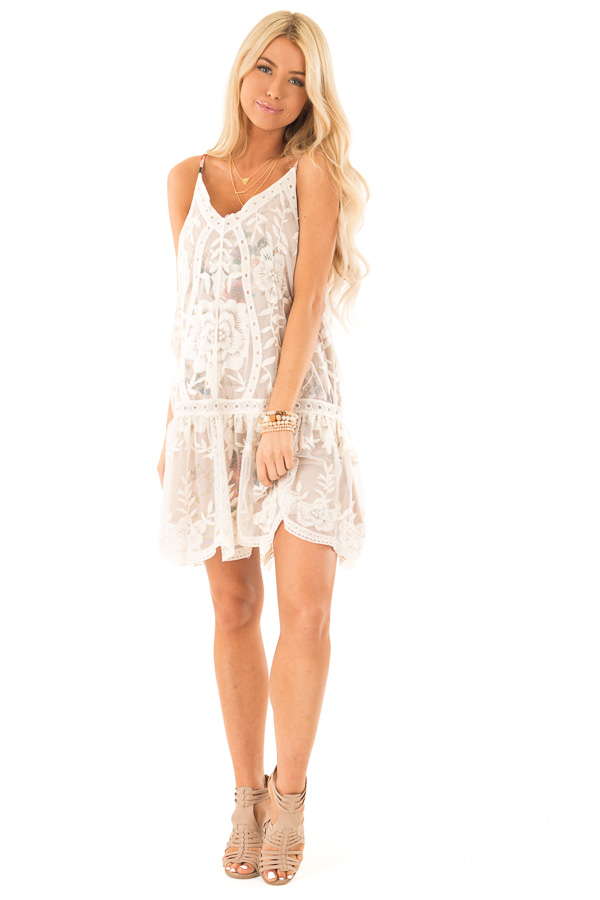 Ivory Floral Print V Neck Mini Dress with Sheer Lace Overlay front full body