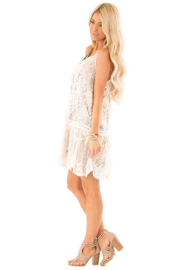 Ivory Floral Print V Neck Mini Dress with Sheer Lace Overlay side full body