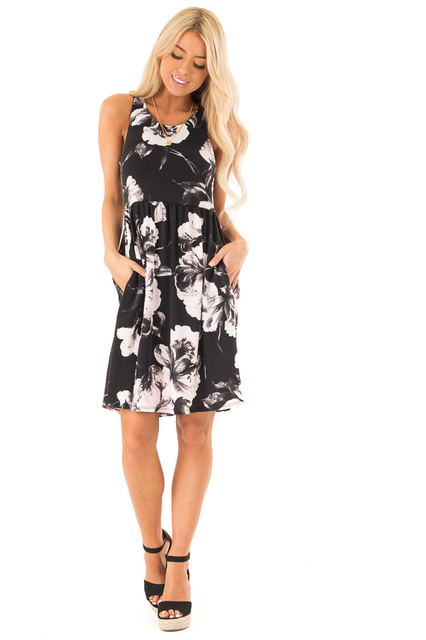 Jet Black Floral Print Slinky Racerback Dress with Pockets front full body