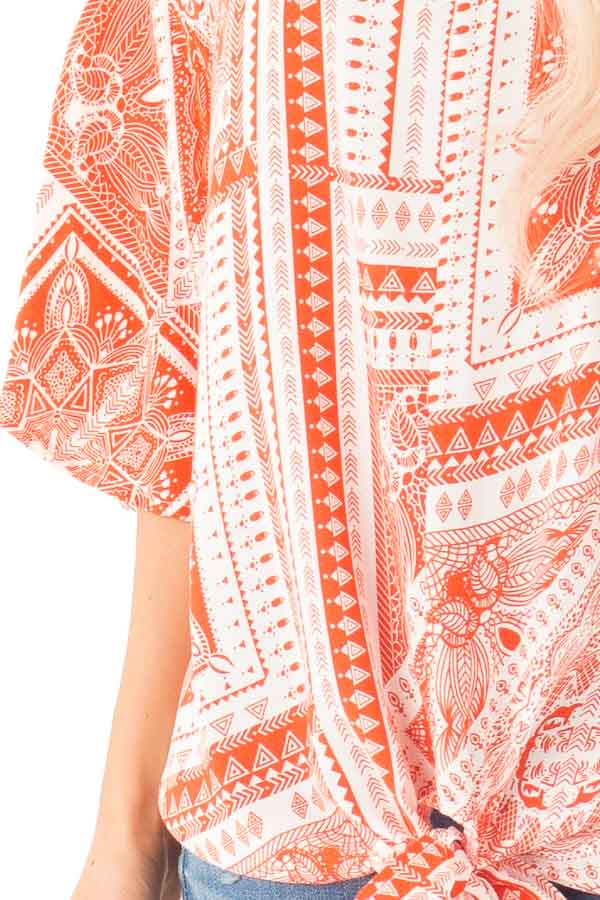 Tangerine Tribal Print Short Sleeve Top with Front Tie Detail detail
