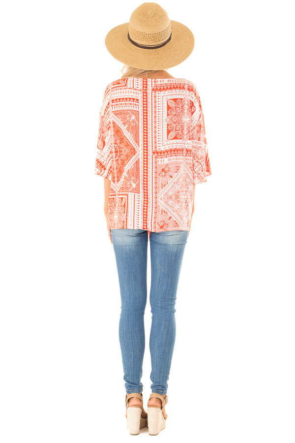 Tangerine Tribal Print Short Sleeve Top with Front Tie Detail back full body