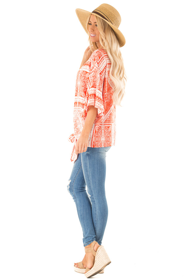 Tangerine Tribal Print Short Sleeve Top with Front Tie Detail side full body