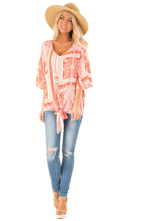 Tangerine Tribal Print Short Sleeve Top with Front Tie Detail front full body