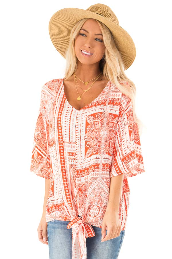 Tangerine Tribal Print Short Sleeve Top with Front Tie Detail front close up
