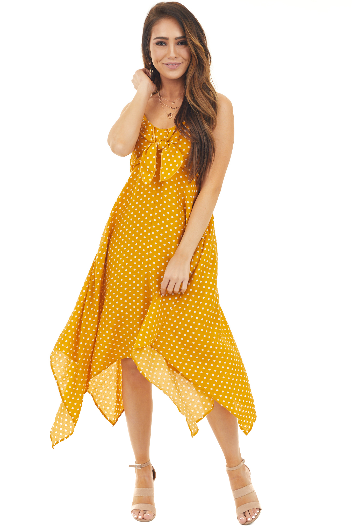 Marigold and Ivory Polka Dot Dress with Bust Tie Detail