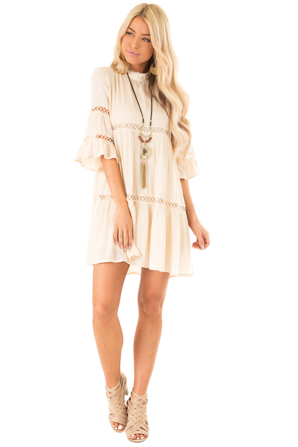 Cream Mock Neck Mini Dress with Lace Details front full body