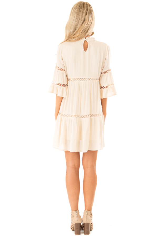 Cream Mock Neck Mini Dress with Lace Details back full body