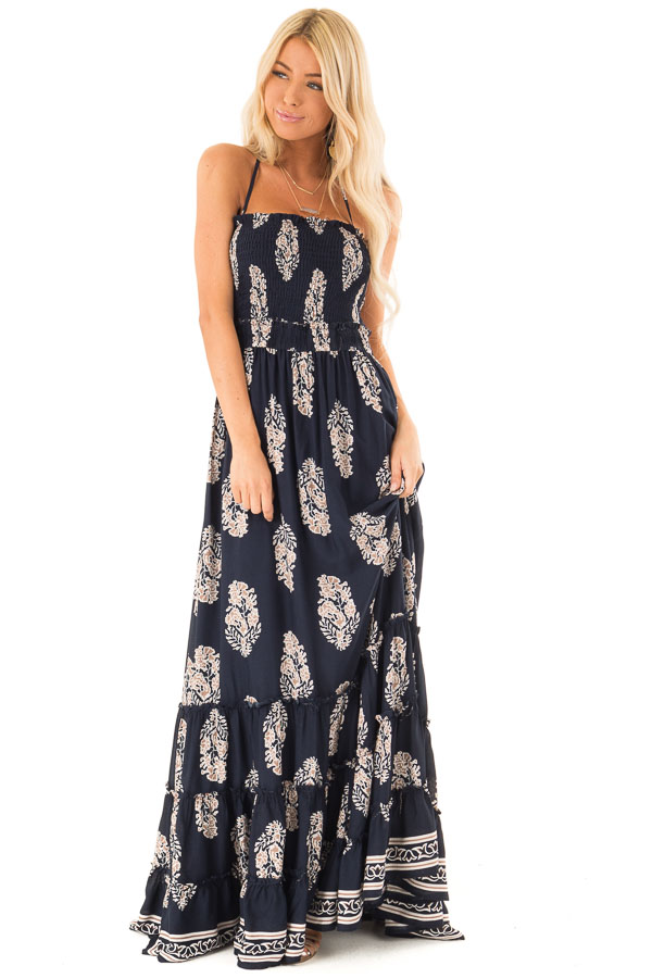 Midnight Navy Maxi Strap Dress with Abstract Floral Print front full body
