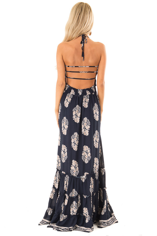 Midnight Navy Maxi Strap Dress with Abstract Floral Print back full body