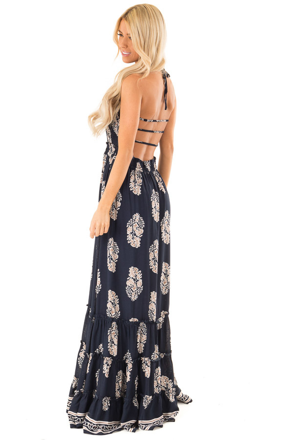 Midnight Navy Maxi Strap Dress with Abstract Floral Print side full body
