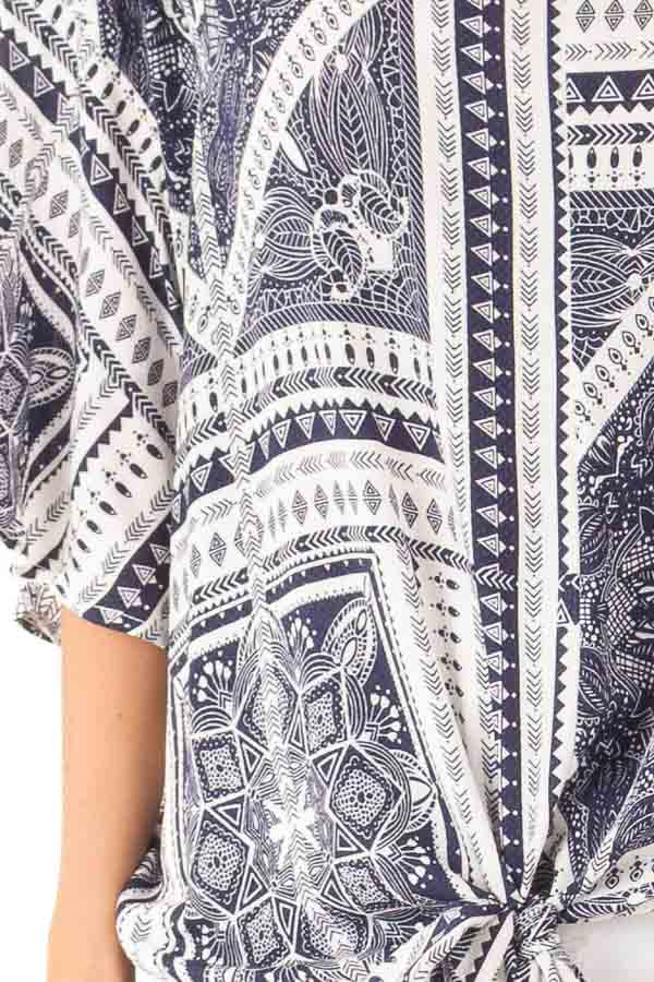 Navy Tribal Print Short Sleeve Top with Front Tie Detail detail