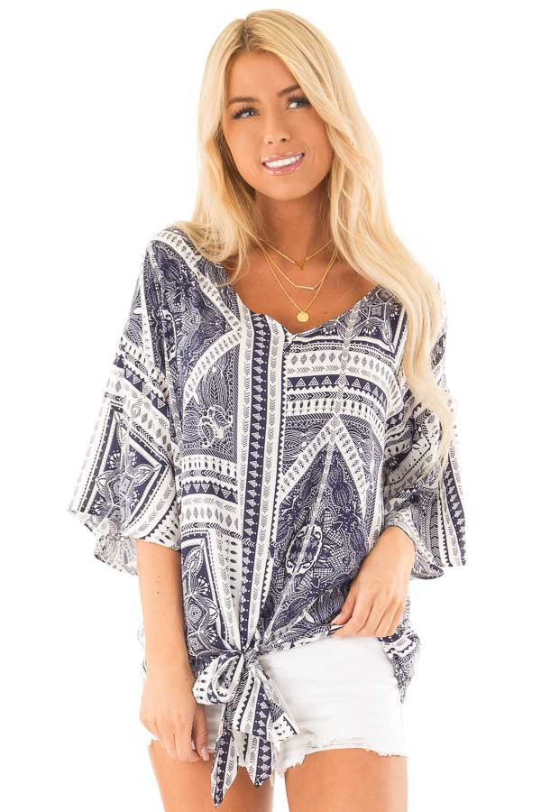 Navy Tribal Print Short Sleeve Top with Front Tie Detail front close up