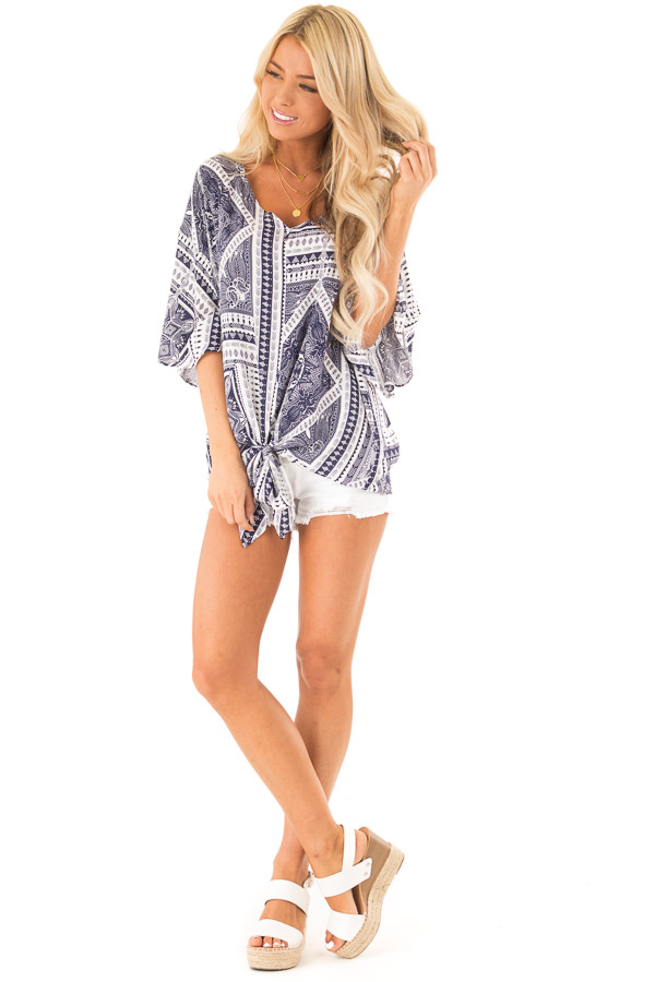 Navy Tribal Print Short Sleeve Top with Front Tie Detail front full body