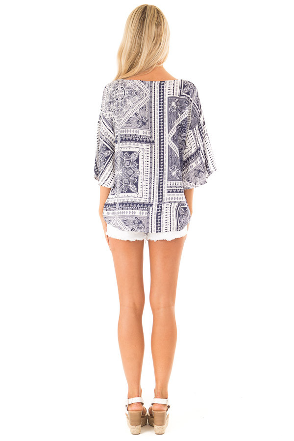 Navy Tribal Print Short Sleeve Top with Front Tie Detail back full body