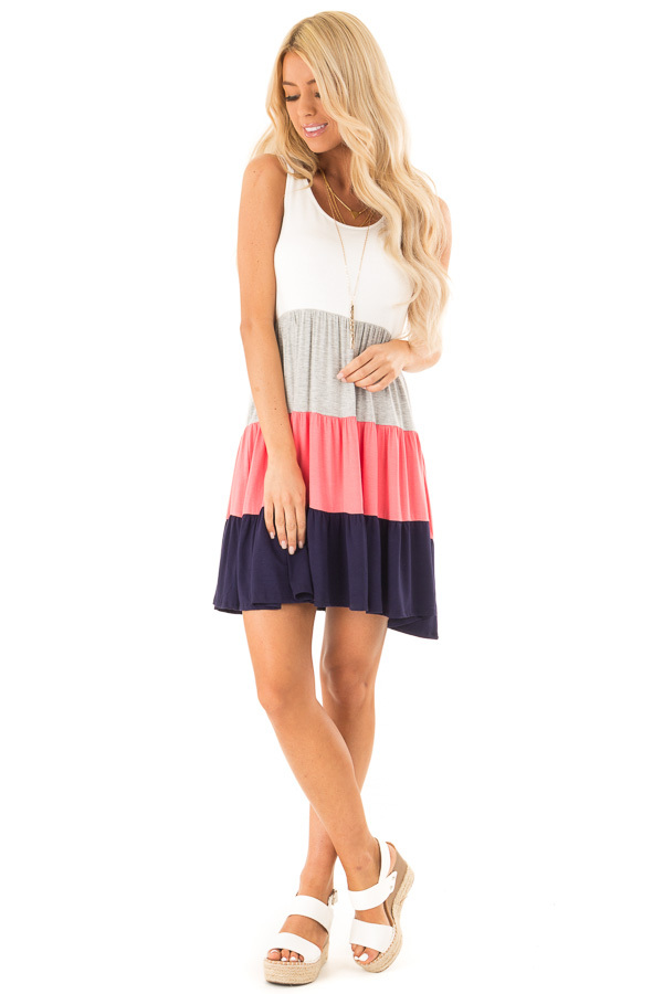 Ivory Heather Grey Coral and Navy Color Block Tank Dress front full body