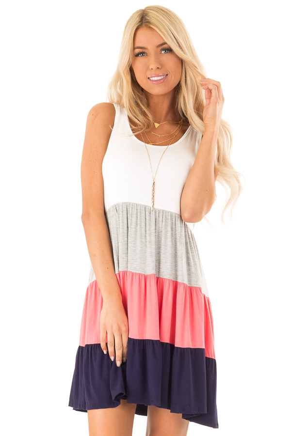 Ivory Heather Grey Coral and Navy Color Block Tank Dress front close up