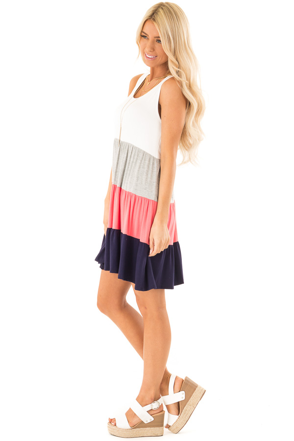 Ivory Heather Grey Coral and Navy Color Block Tank Dress side full body