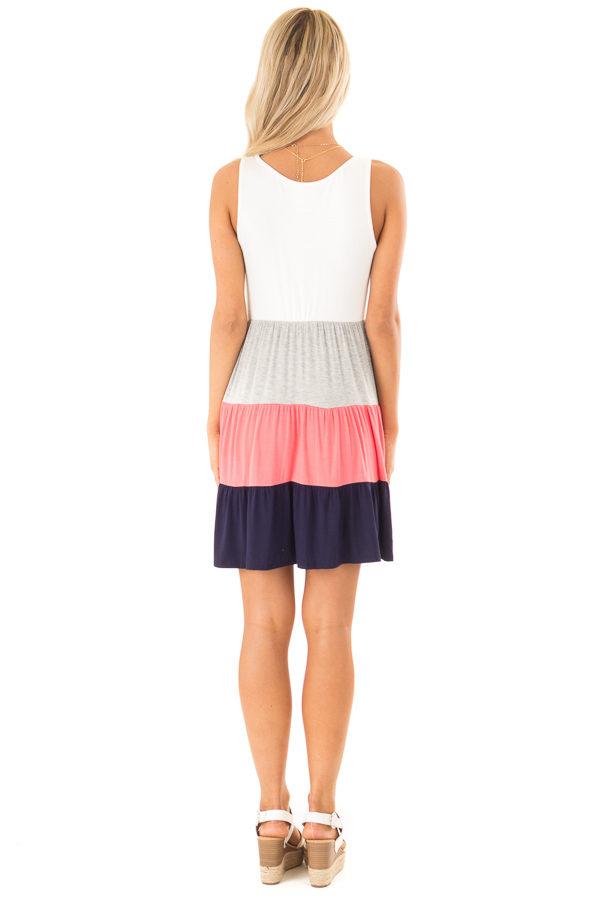 Ivory Heather Grey Coral and Navy Color Block Tank Dress back full body