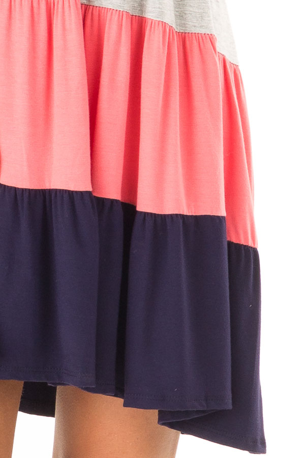 Ivory Heather Grey Coral and Navy Color Block Tank Dress detail