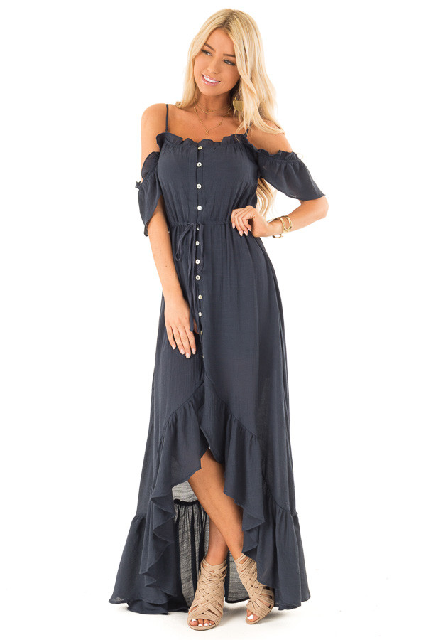 Midnight Blue Off the Shoulder High Low Ruffle Maxi Dress front full body