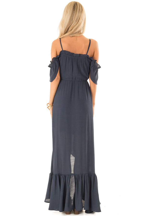 Midnight Blue Off the Shoulder High Low Ruffle Maxi Dress back full body