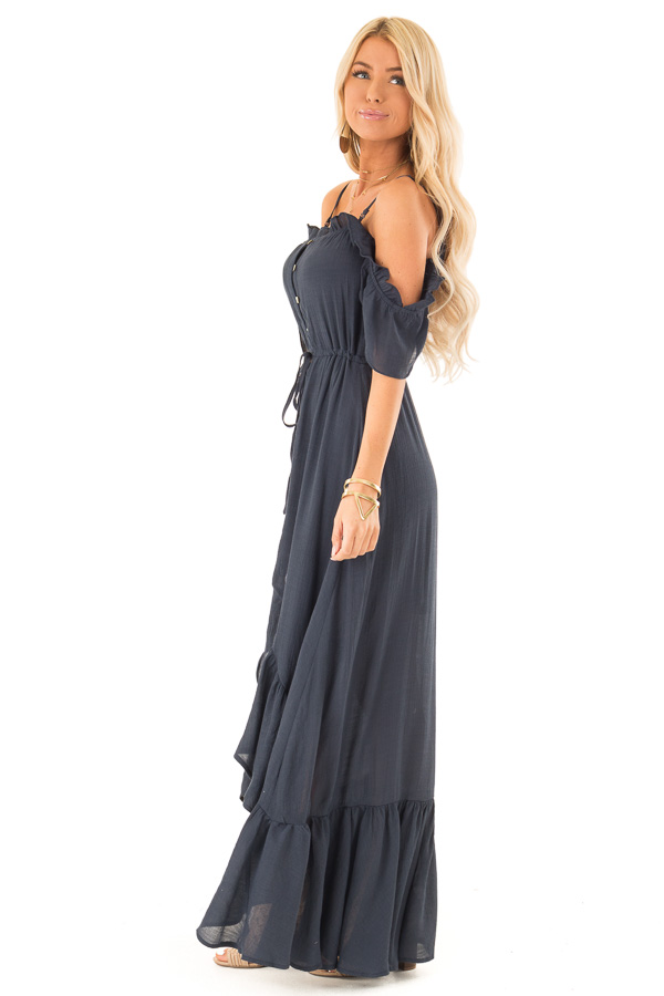 Midnight Blue Off the Shoulder High Low Ruffle Maxi Dress side full body