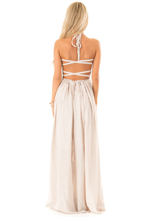 Champagne Smocked Halter Maxi Dress with Criss Cross Back back full body
