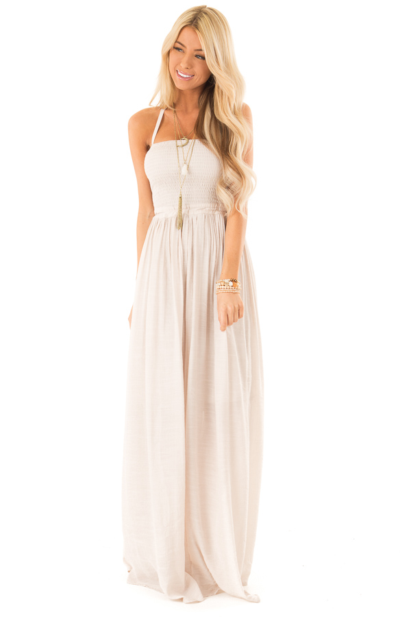 Champagne Smocked Halter Maxi Dress with Criss Cross Back front full body