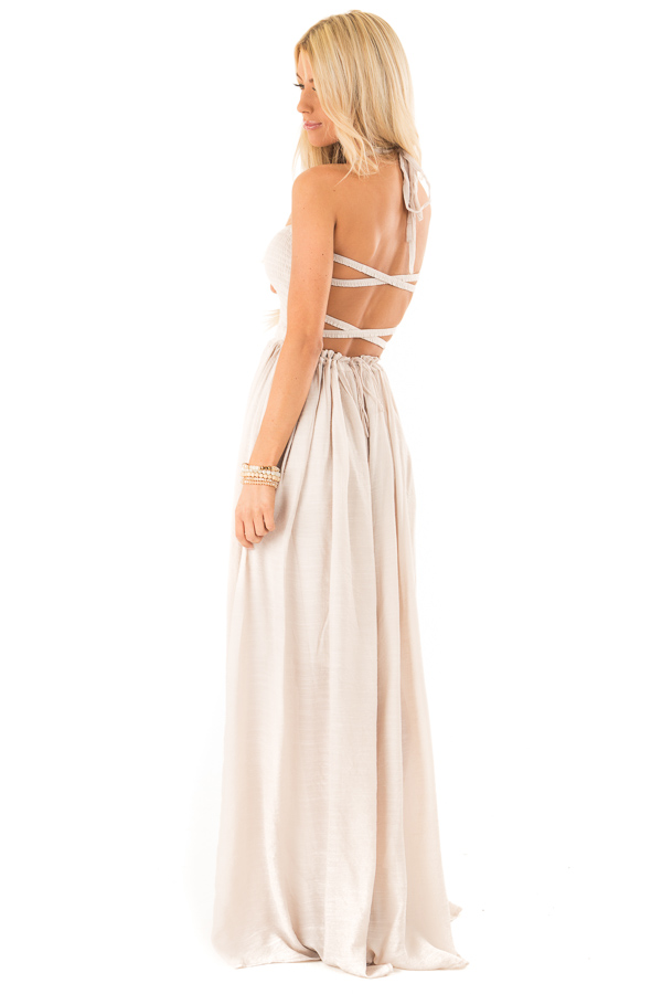 Champagne Smocked Halter Maxi Dress with Criss Cross Back side full body