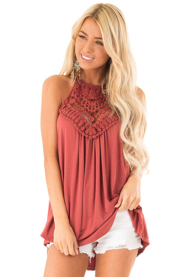 Brick Red Tank Top with Sheer Lace Chest front close up
