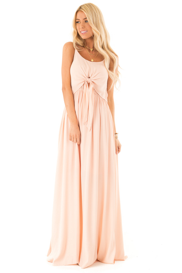 Baby Peach Spaghetti Strap Maxi Dress with Bust Tie Detail front full body