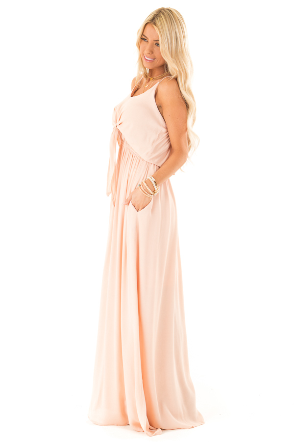 Baby Peach Spaghetti Strap Maxi Dress with Bust Tie Detail side full body