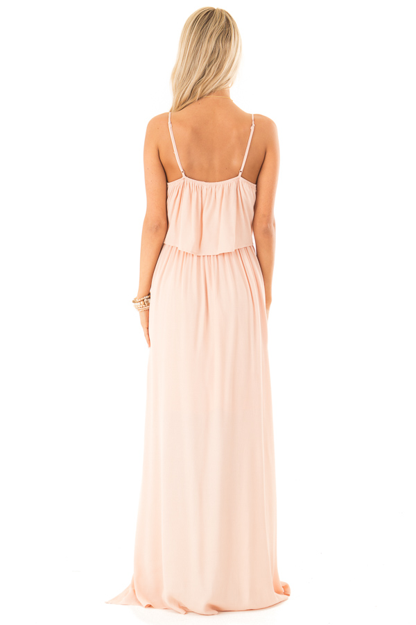 Baby Peach Spaghetti Strap Maxi Dress with Bust Tie Detail back full body